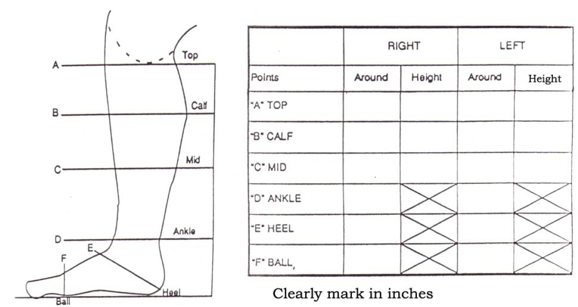 leg measurement chart for bootmaker